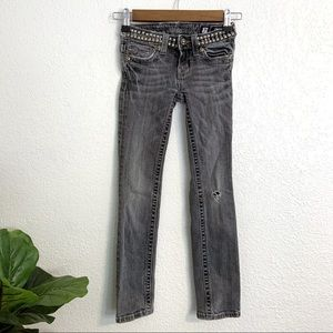 Miss Me Kids Dark Gray Embellished Denim Jeans 7